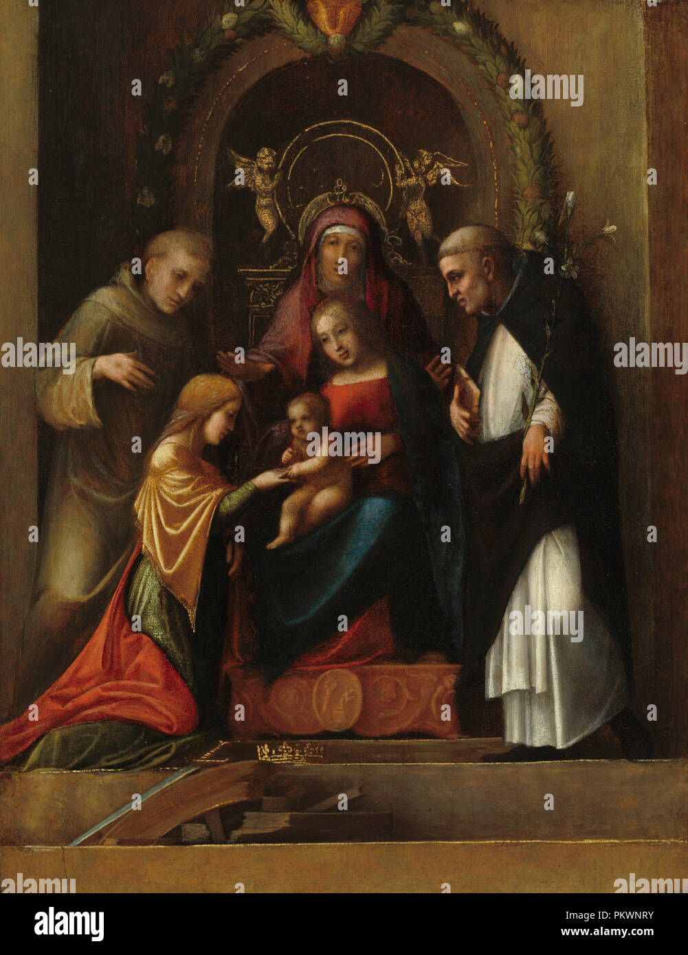 The Mystic Marriage of Saint Catherine. Dated: 1510/1515. Dimensions: overall: 27.7 x 21.4 cm, 0.5 cm (10 7/8 x 8 7/16 in., 3/16 in.)  overall (with added edge strips): 29 x 22.4 cm (11 7/16 x 8 13/16 in.)  framed: 40.16 x 33.81 x 4.92 cm (15 13/16 x 13 5/16 x 1 15/16 in.). Medium: oil on panel. Museum: National Gallery of Art, Washington DC. Author: CORREGGIO. - Stock Image