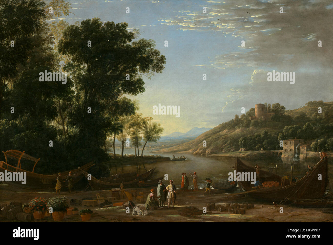 Landscape with Merchants. Dated: c. 1629. Dimensions: overall: 97.2 x 143.6 cm (38 1/4 x 56 9/16 in.). Medium: oil on canvas. Museum: National Gallery of Art, Washington DC. Author: Claude Lorrain. - Stock Image