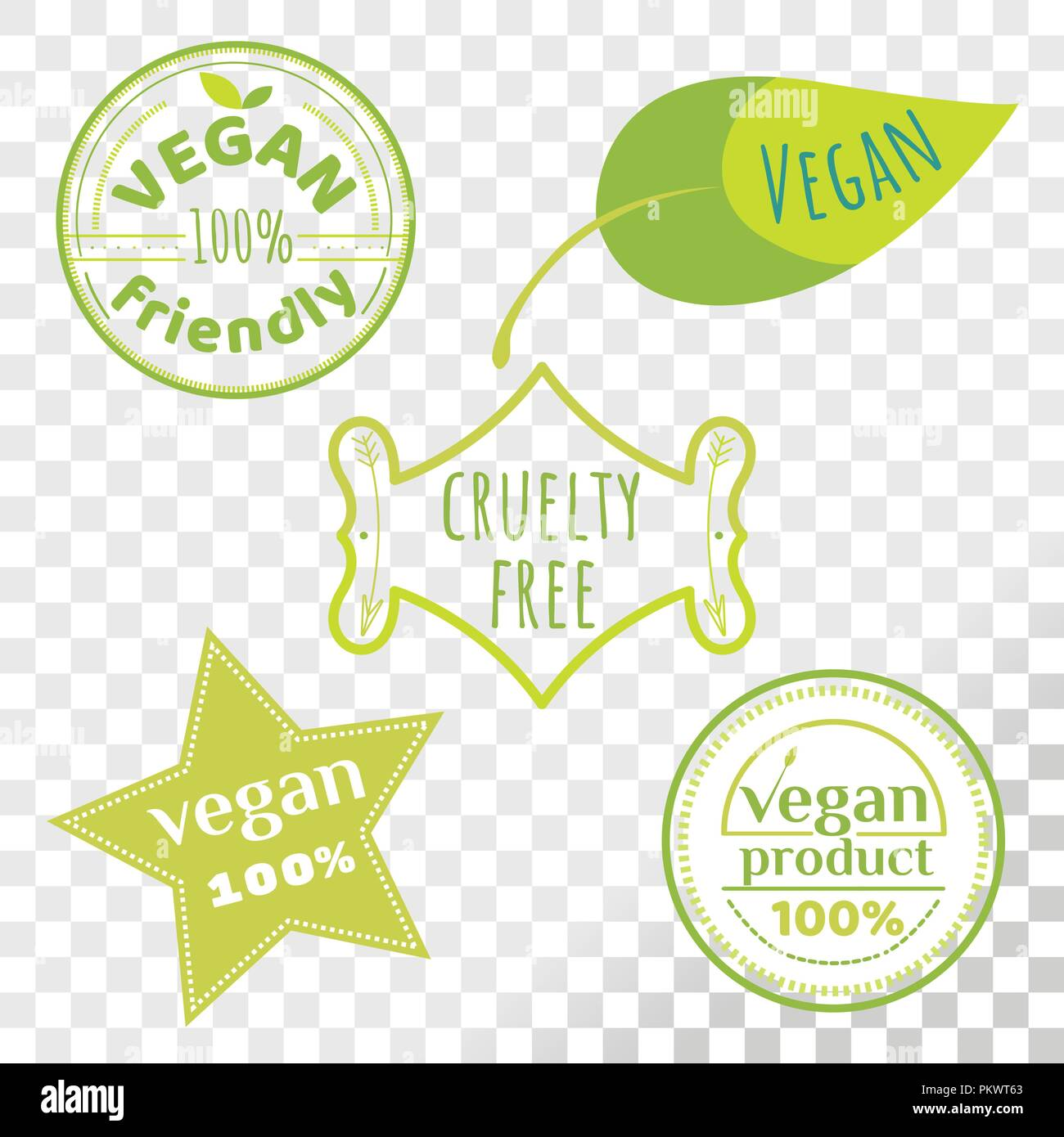 Vegan free labels collection isolated on transparent background. Set of cruelty free emblems that proves animal rights protection. - Stock Image