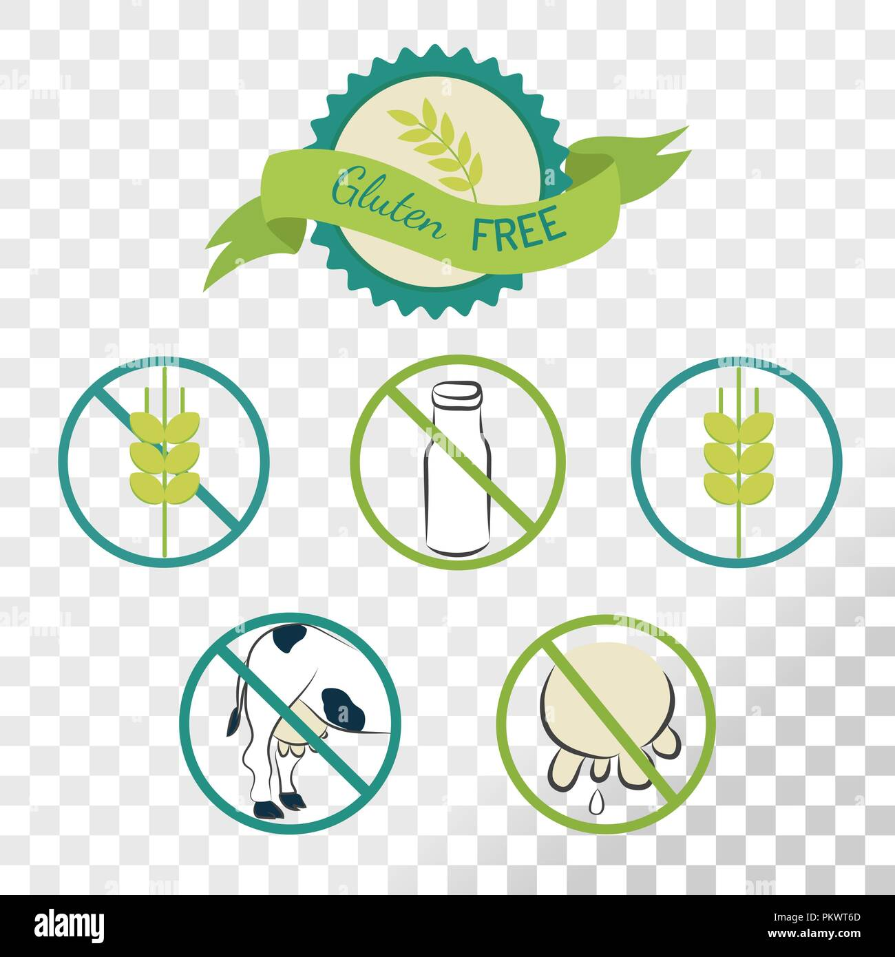 Gluten free labels collection isolated on transparent background. Emblems for caution for people with allergies. Stock Vector