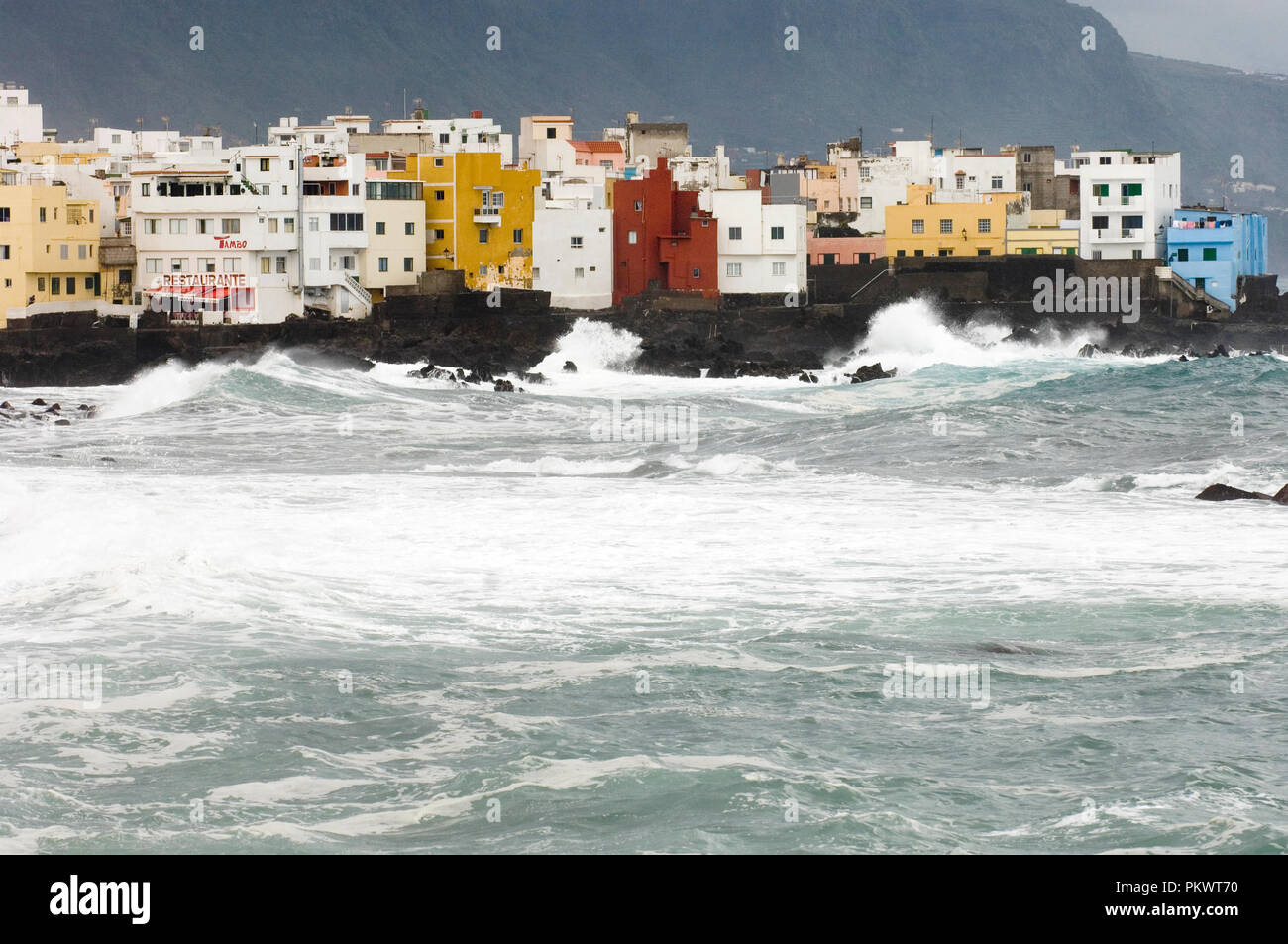 Stormy Weather In Puerto De La Cruz Tenerife Canary Islands Spain March 2006 Stock Photo Alamy