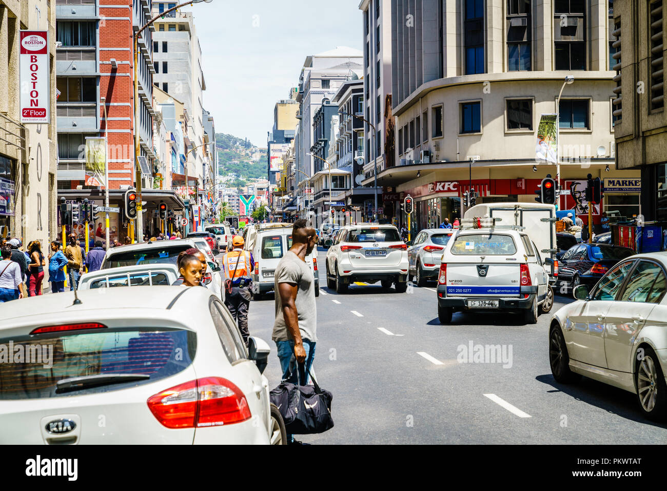 Cape Town, South Africa, February 9, 2018: Busy street with traffic in downtown Cape Town, South Africa - Stock Image