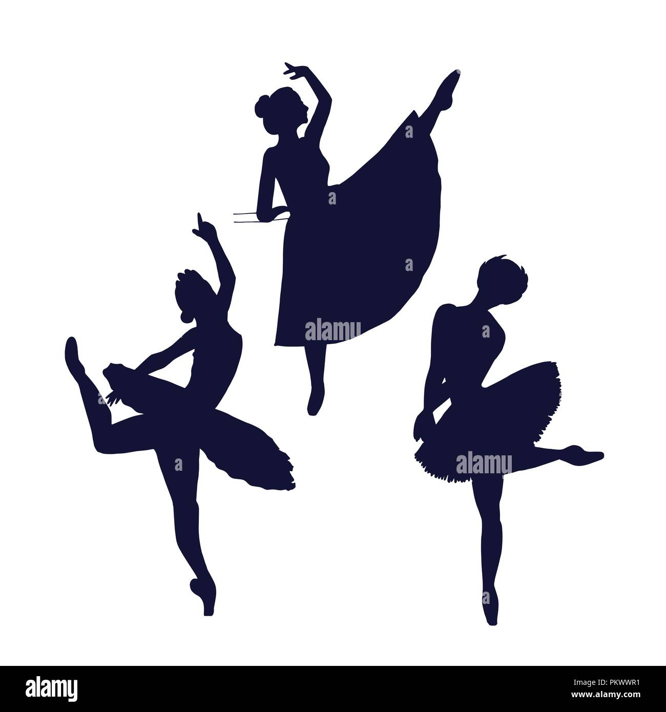 Ballerina silhouette isolated on white background. Female dancer poses shadows. - Stock Vector