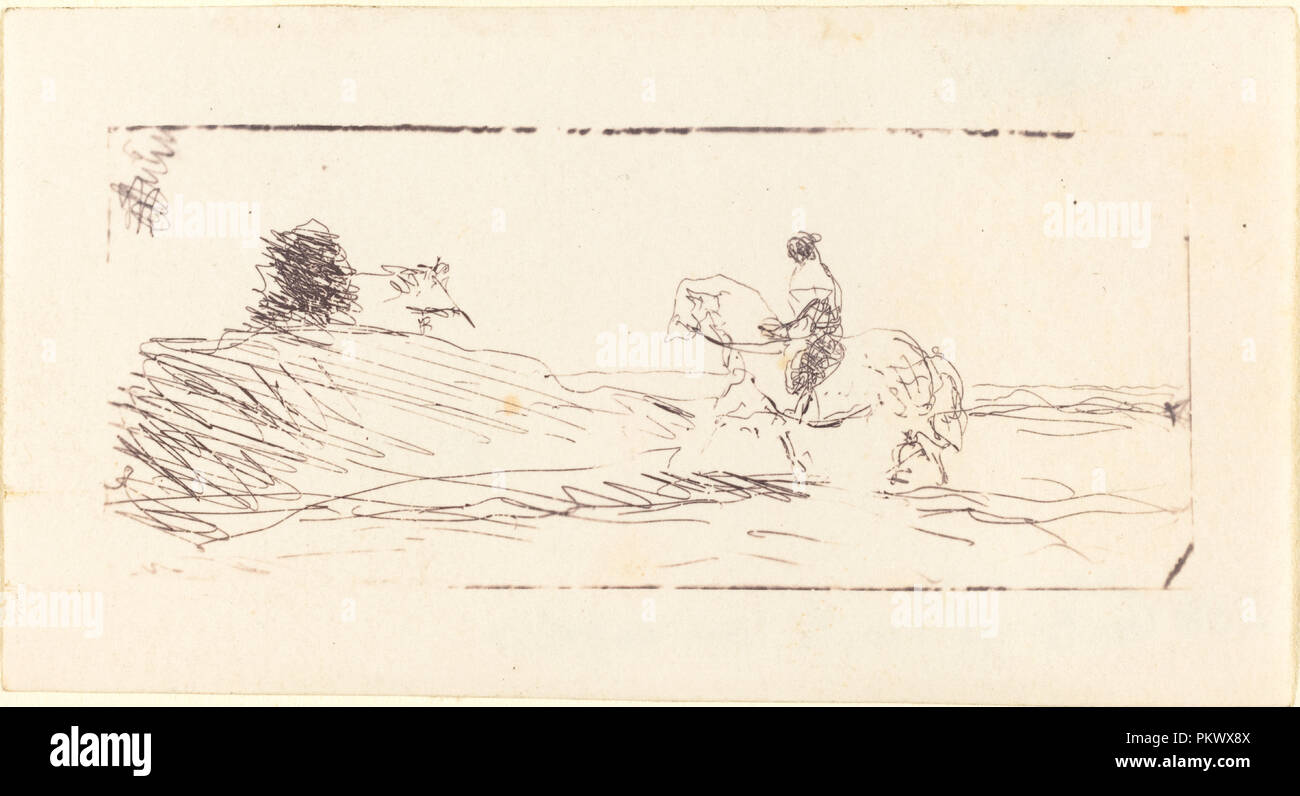 Carte De Viste With Horseman La Visite Au Cavalier Dated 1853 Medium Cliche Verre Museum National Gallery Of Art Washington DC