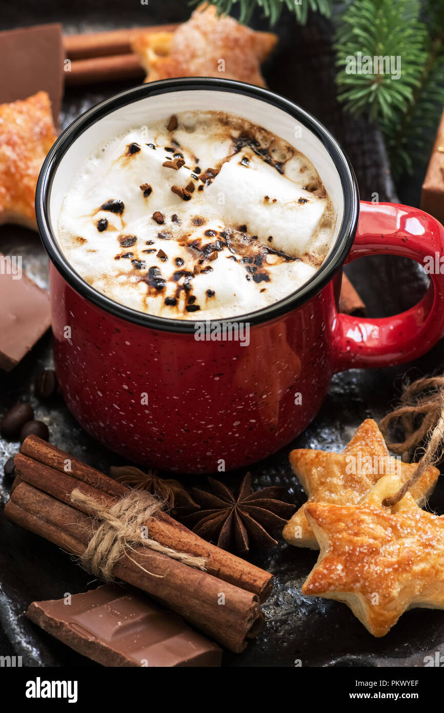 Hot chocolate with marshmallow in a red mug close-up, cinnamon, cookies, chocolate and spruce branches. Christmas. Selective focus - Stock Image