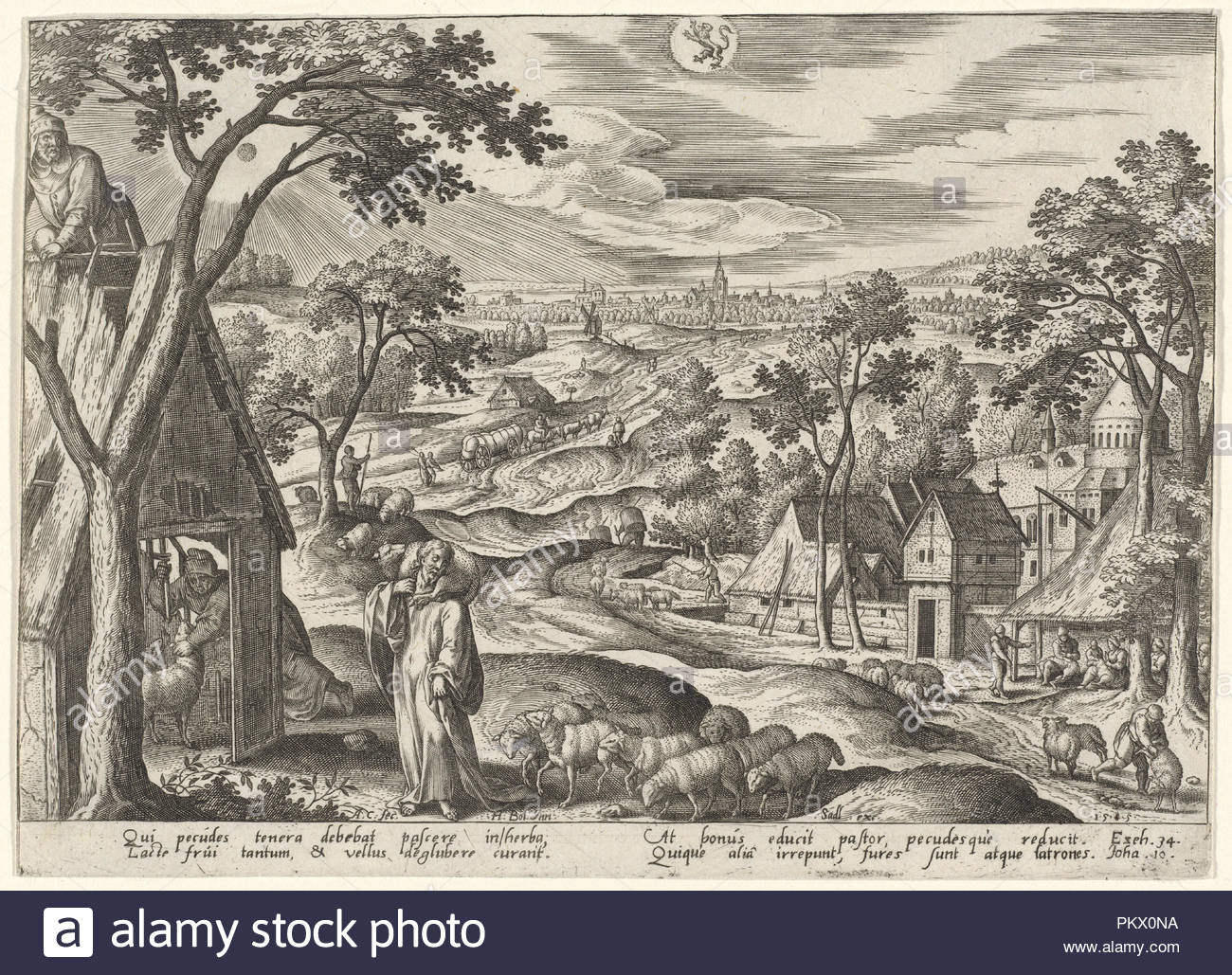 '... I am the door of the sheep' (Leo). Dated: 1585. Medium: engraving. Museum: National Gallery of Art, Washington DC. Author: Adriaen Collaert after Hans Bol. - Stock Image