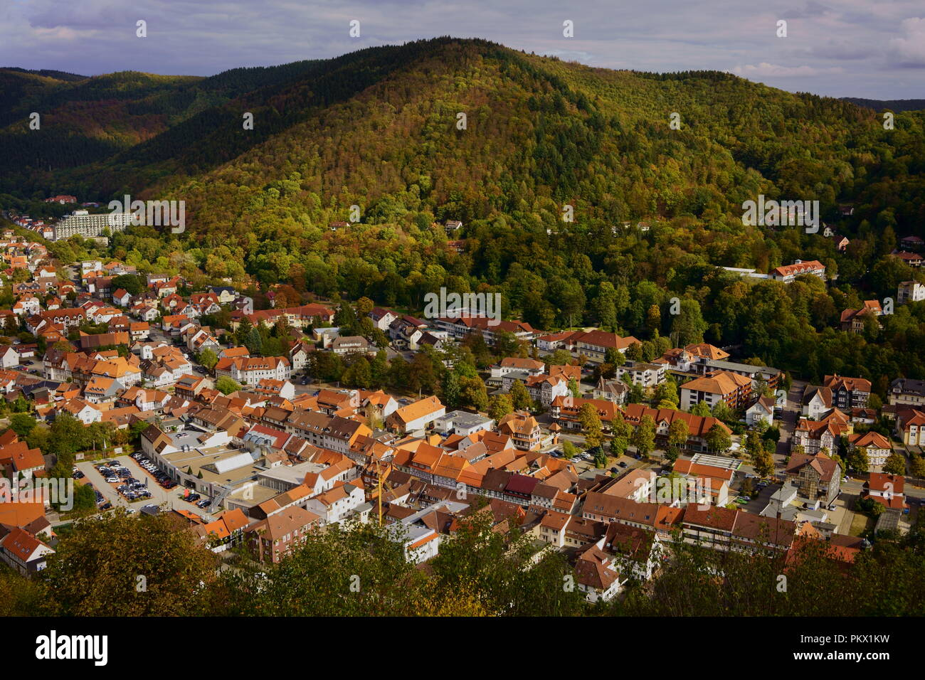 Townscape of Bad Lauterberg in the Harz mountains, Lower Saxony, Germany. Picturesque half-timbered houses in the southern Harz region. - Stock Image