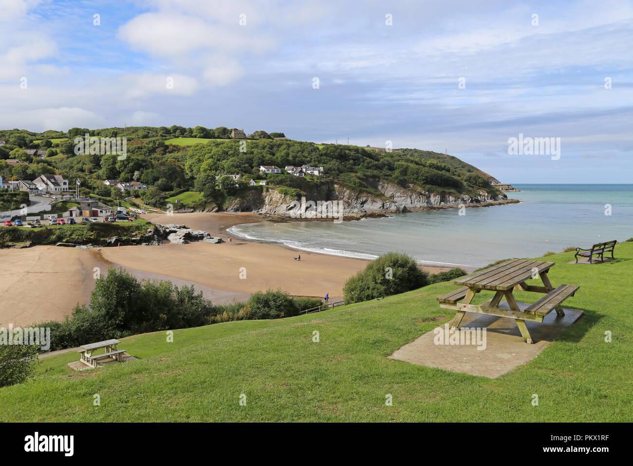 Dyffryn and Dolwen beaches, Aberporth, Cardigan Bay, Ceredigion, Wales, Great Britain, United Kingdom, UK, Europe - Stock Image