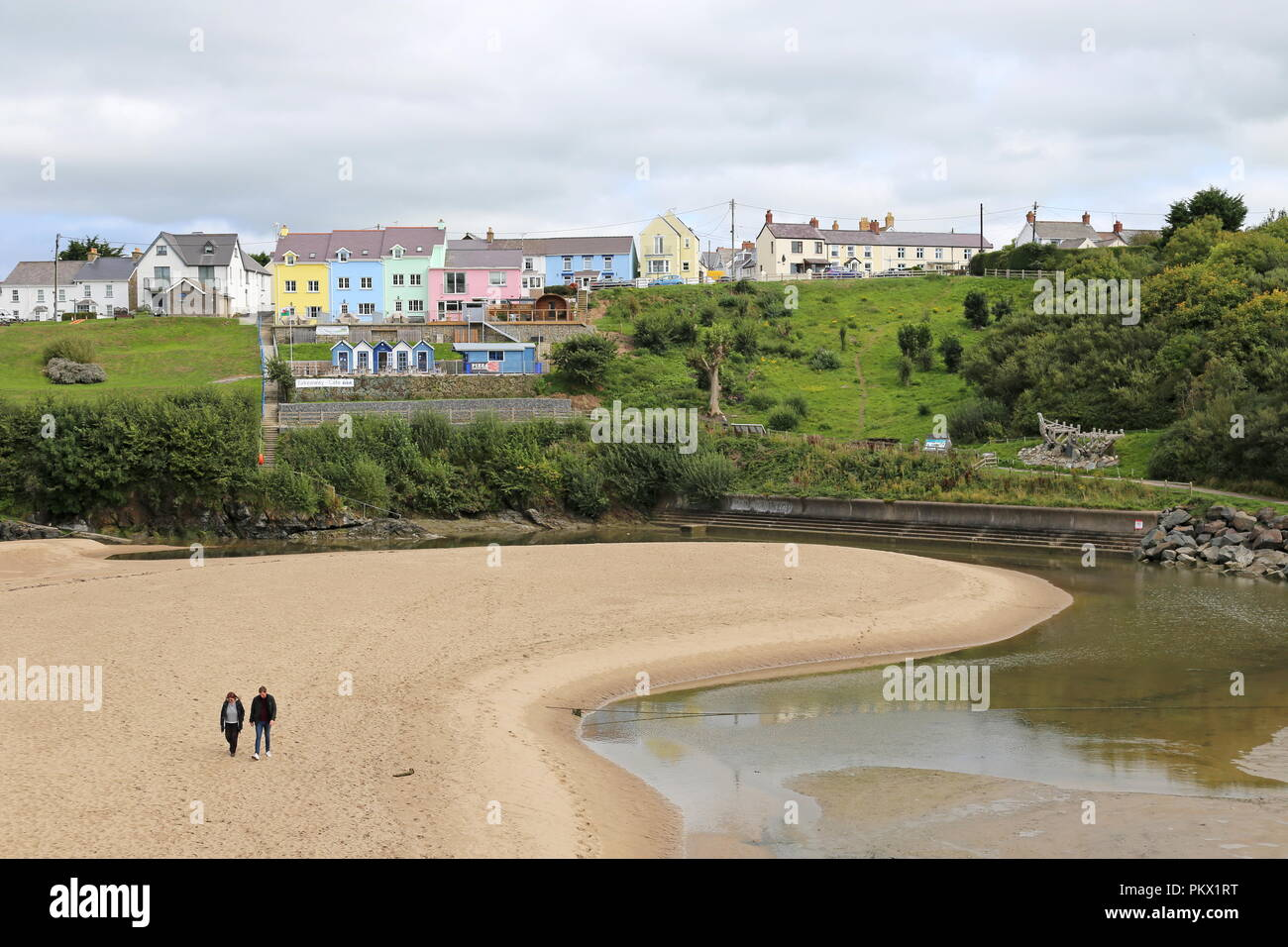 Dyffryn beach, Aberporth, Cardigan Bay, Ceredigion, Wales, Great Britain, United Kingdom, UK, Europe - Stock Image