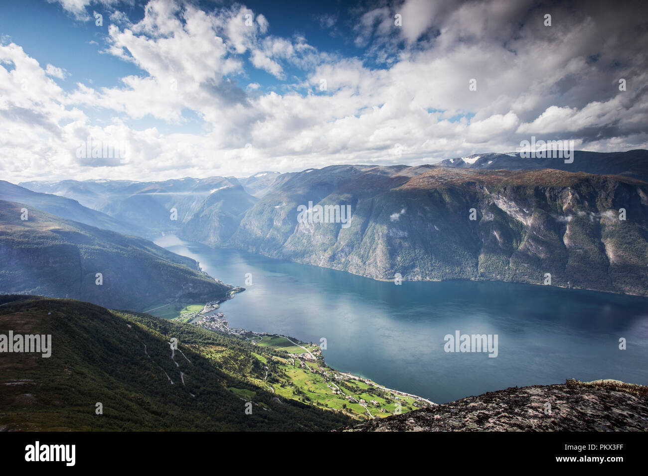 Norway, stunning mountain landscape beautiful sunlight and blue sky Stock Photo