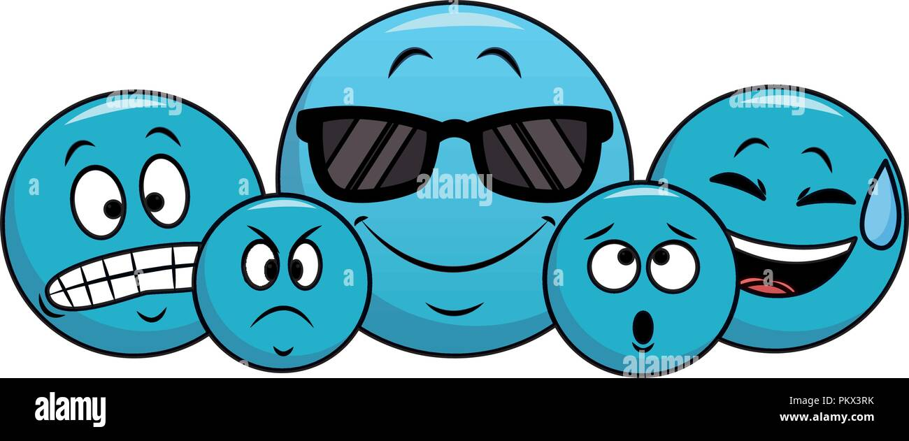 Set of chat emoticons - Stock Image