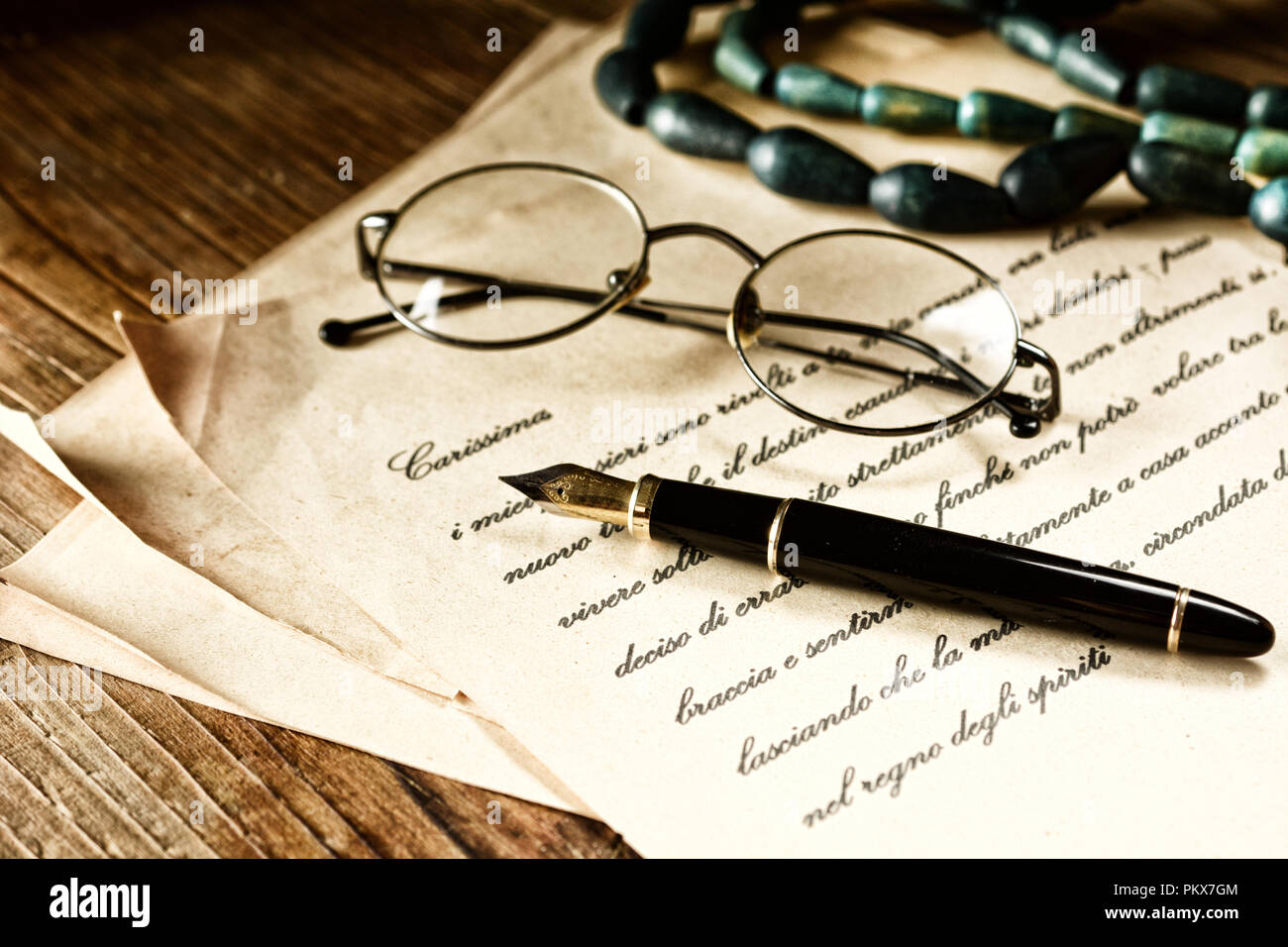 love letter with fountain pen - vintage effect - closeup - Stock Image