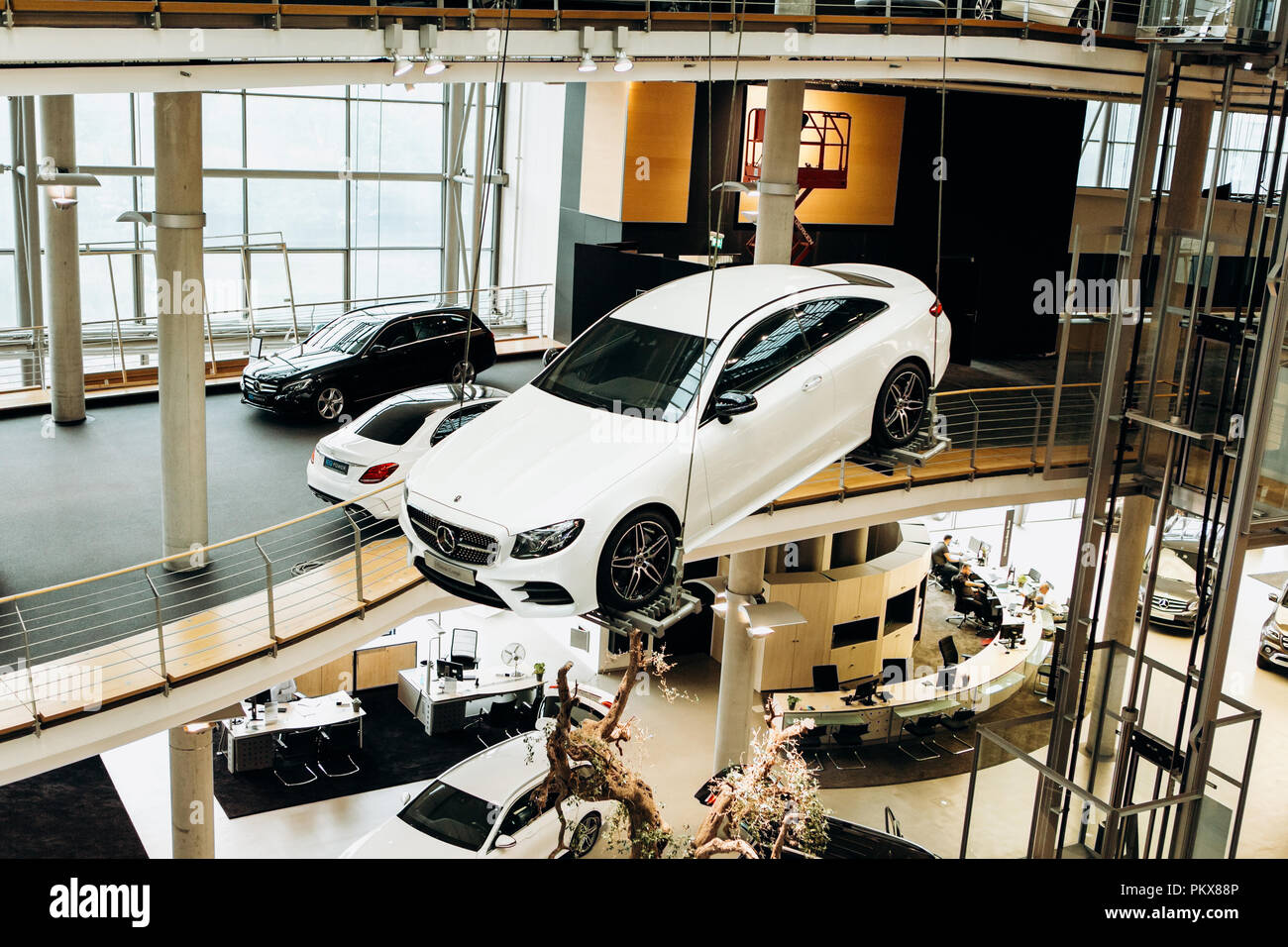 Berlin, August 29, 2018: Exhibition and sale of new cars in the official dealer center Mercedes-Benz in Berlin. A world-famous German company specializing in the production of luxury cars. - Stock Image