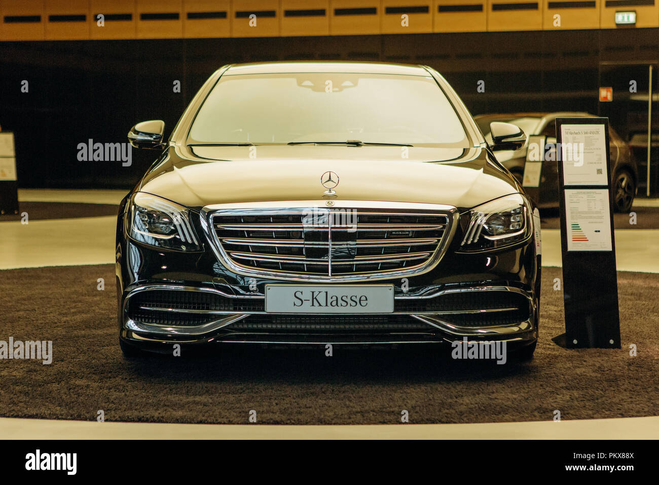 Berlin, August 29, 2018: A close-up of the Mercedes-Maybach car which is exhibited and sold in the official dealer's center in Berlin. Luxury branded expensive car. Stock Photo