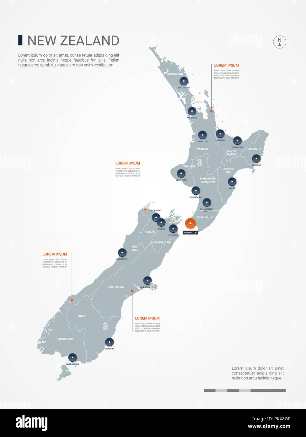 New Zealand map with borders, cities, capital and administrative ...