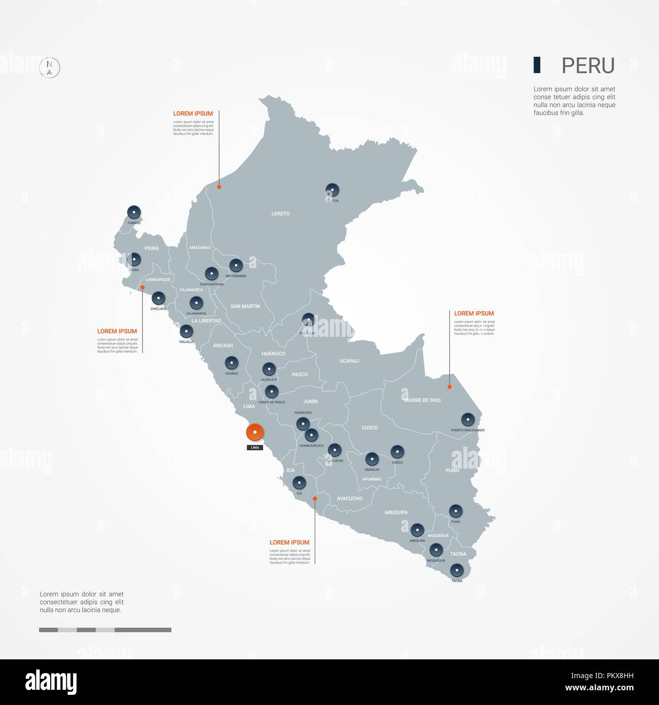 Peru Map Cities.Peru Map With Borders Cities Capital And Administrative Divisions
