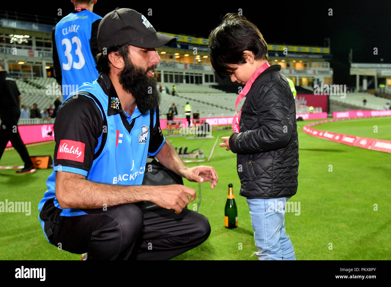 Moeen Ali Gives His Medal To A Young Boy As Worcestershire Rapids Celebrate Winning The Trophy During The Vitality T20 Blast Final On Finals Day At Edgbaston Birmingham Stock Photo Alamy