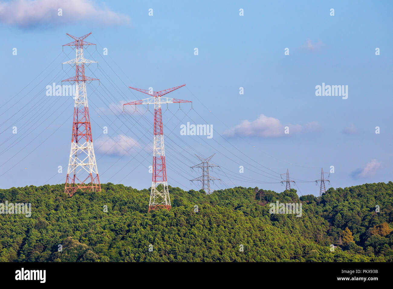 Energy transmission line view with copy space area. Royalty free. Electric power transmission is the bulk movement of electrical energy. - Stock Image