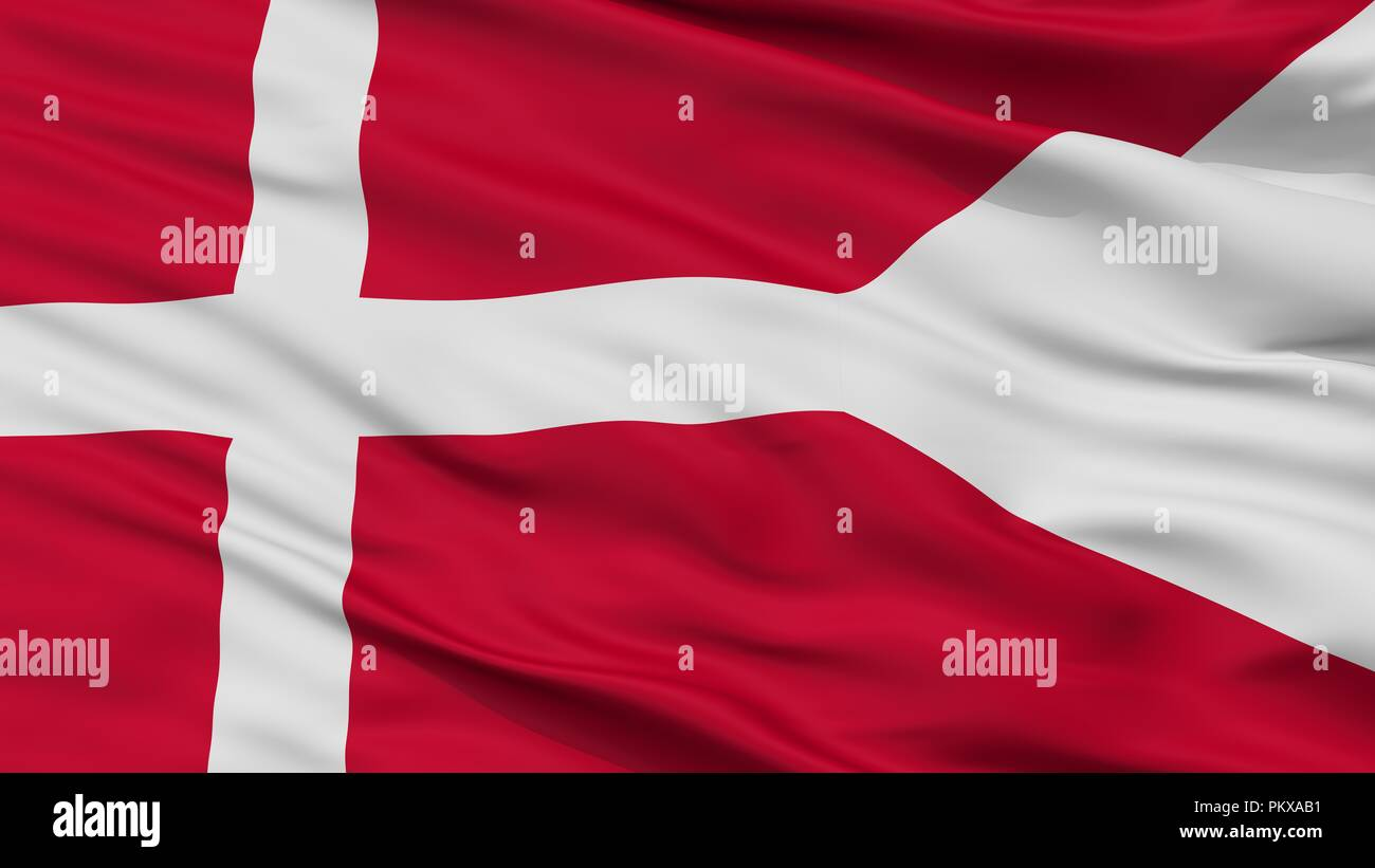 Denmark Naval Ensign Flag, Closeup View, 3D Rendering - Stock Image