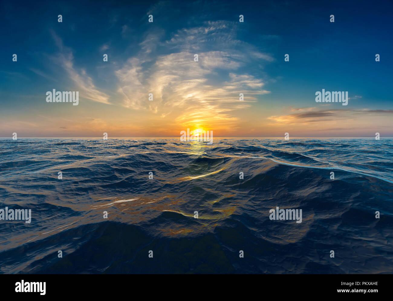 Sunset or sunrise over choppy water - Stock Image