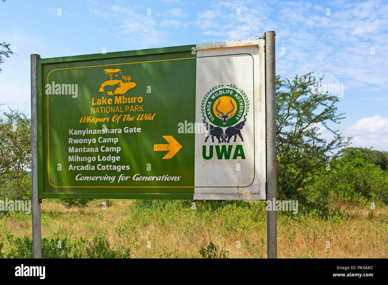 Sign, Lake Mburo National Park with Directions to Kwaninyanshara Gate, Rwonyo Camp, Mantana Camp, Mihingo Lodge & Arcadia Cottages, Uganda East Africa - Stock Image
