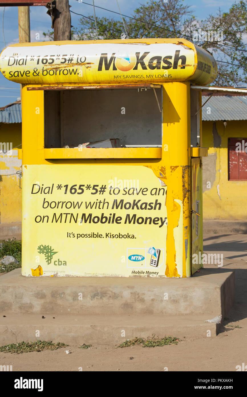 MoKash Advertisement, MoKash MTN Mobile Money, Deposits, Savings, Loans, Borrow Money on Mobile Phone, Banking Service, MoCash, Uganda, East Africa - Stock Image