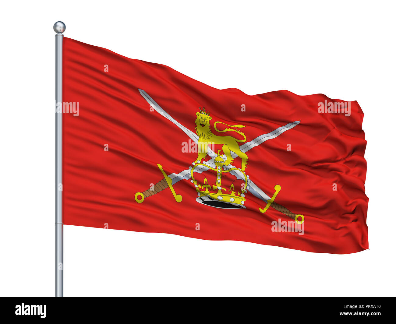 British Army Flag On Flagpole, Isolated On White Background, 3D Rendering - Stock Image