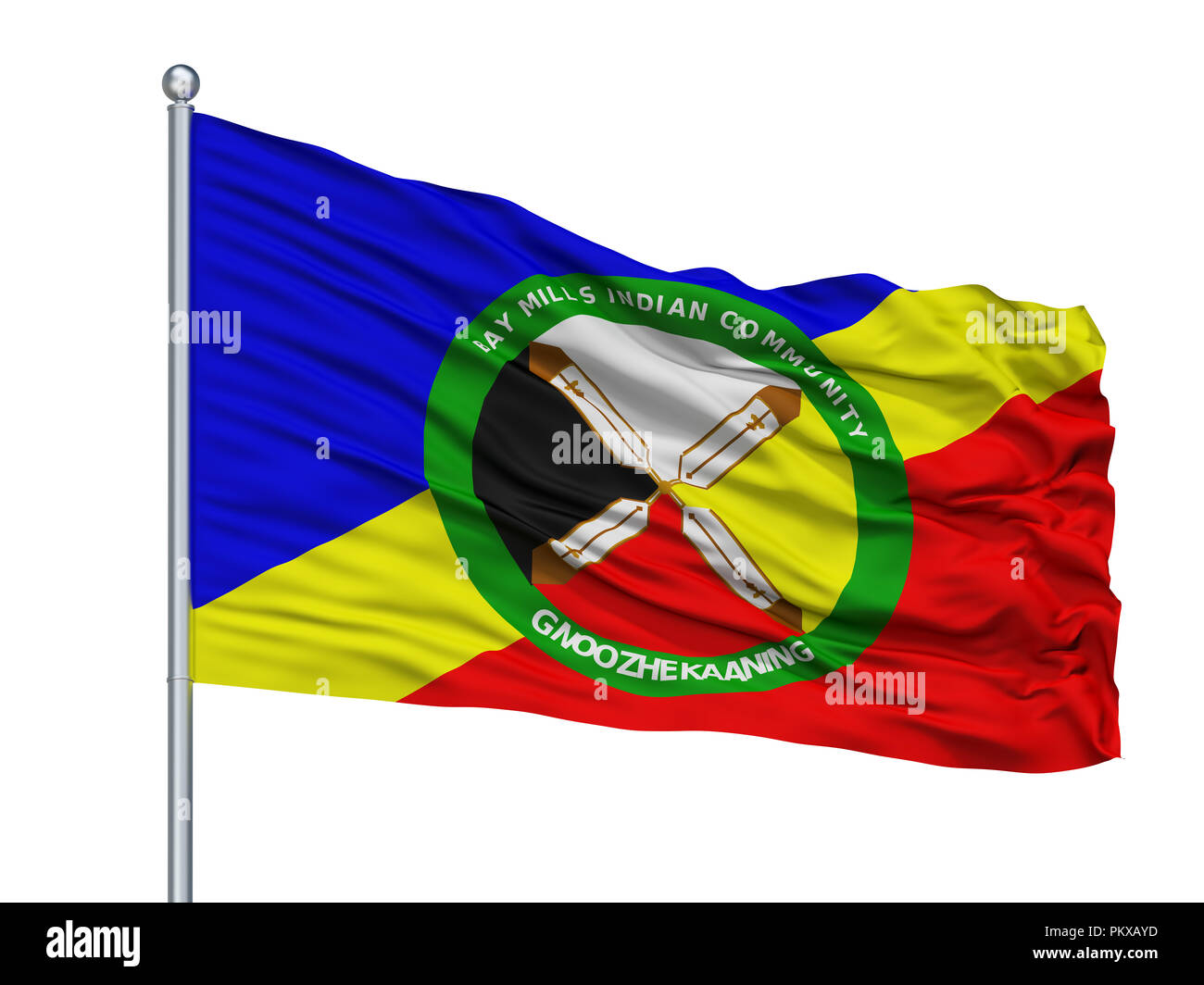 Bay Mills Community Indian Flag On Flagpole, Isolated On White Background, 3D Rendering - Stock Image