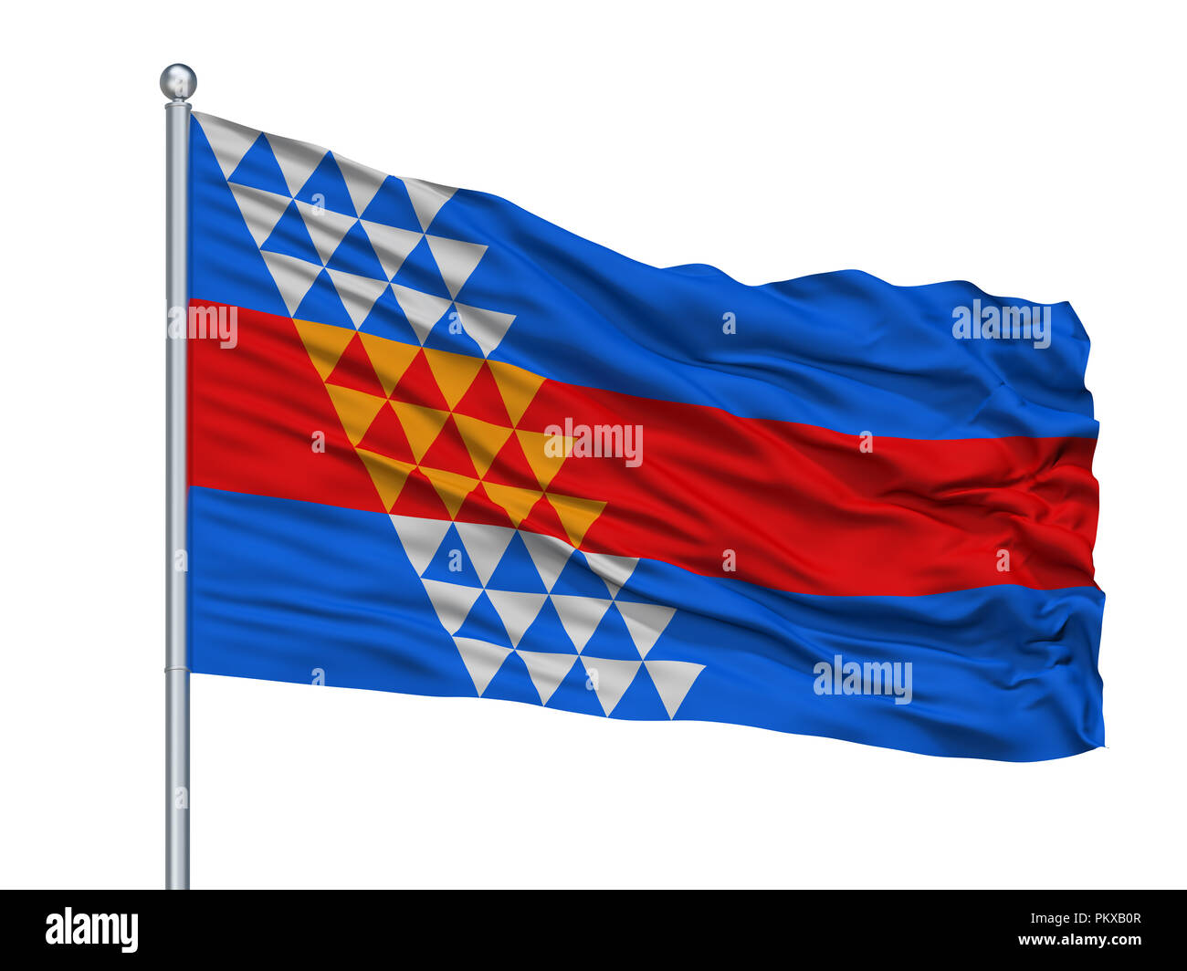 Robinson Rancheria Indian Flag On Flagpole, Isolated On White Background, 3D Rendering - Stock Image