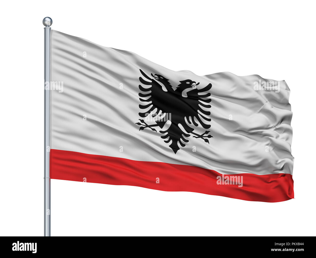 Albania Naval Ensign Flag On Flagpole, Isolated On White Background, 3D Rendering - Stock Image