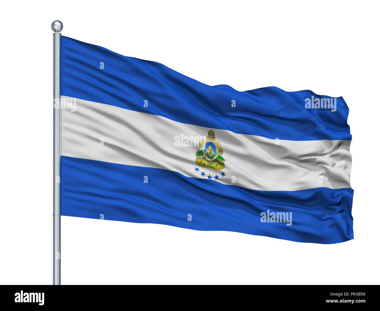 Honduras Naval Ensign Flag On Flagpole, Isolated On White Background, 3D Rendering Stock Photo