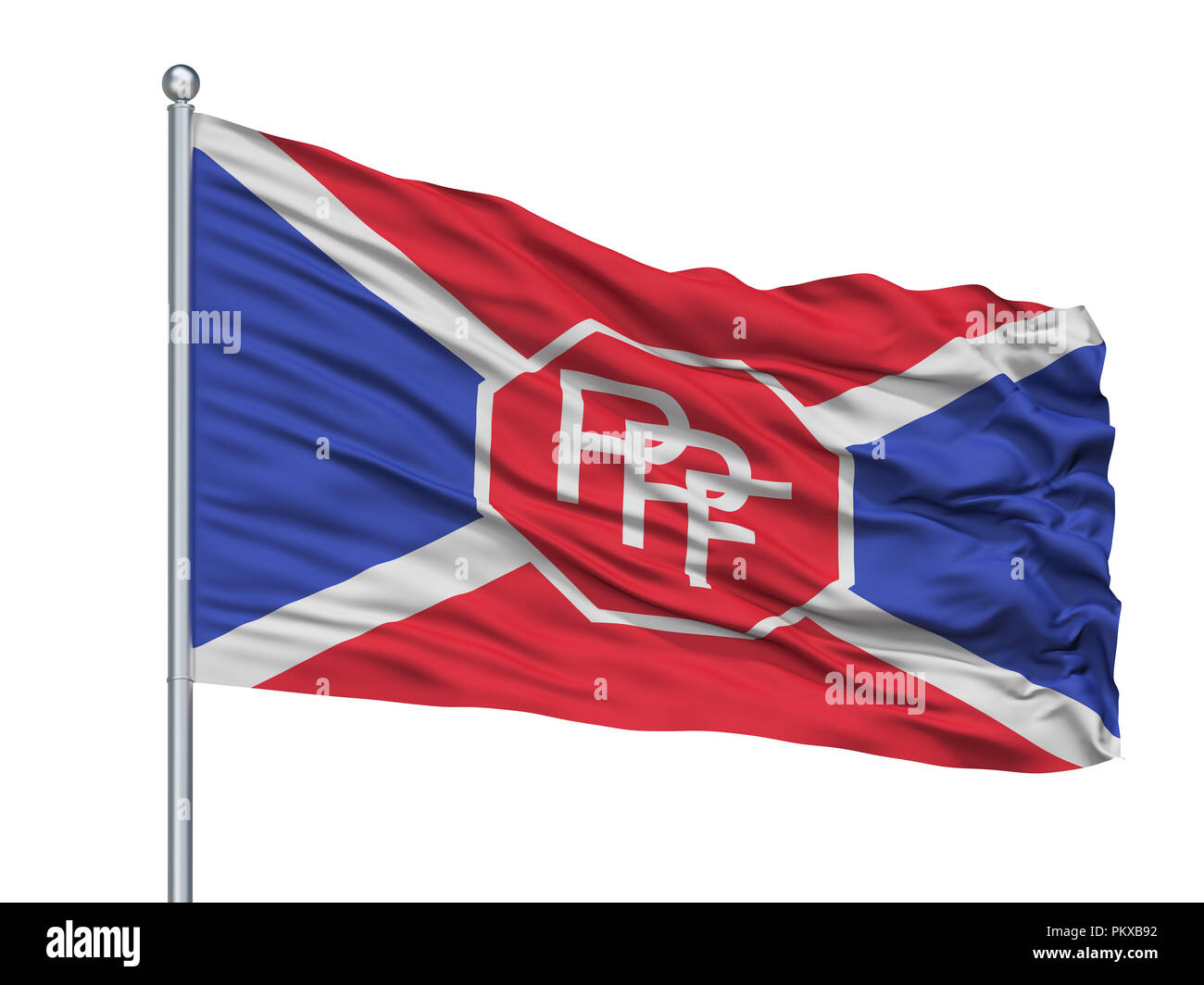 Ppf Flag On Flagpole, Isolated On White Background, 3D Rendering - Stock Image