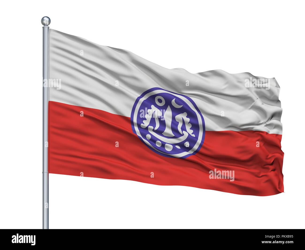 Rakhine Flag On Flagpole, Isolated On White Background, 3D Rendering - Stock Image