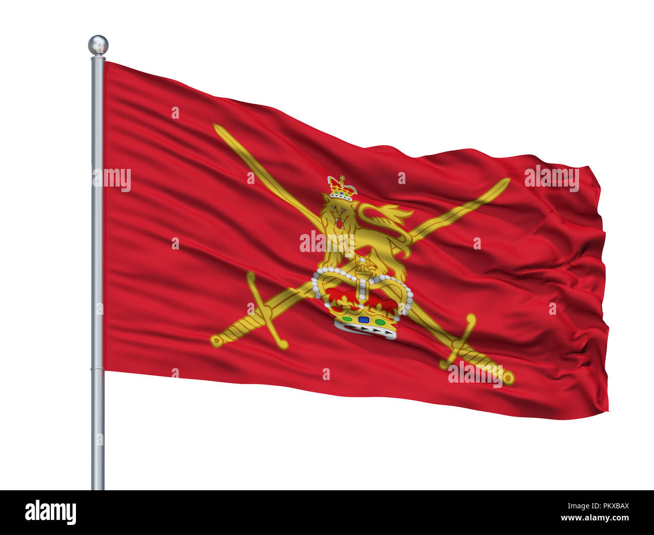 British Army 1938 Flag On Flagpole, Isolated On White Background, 3D Rendering - Stock Image