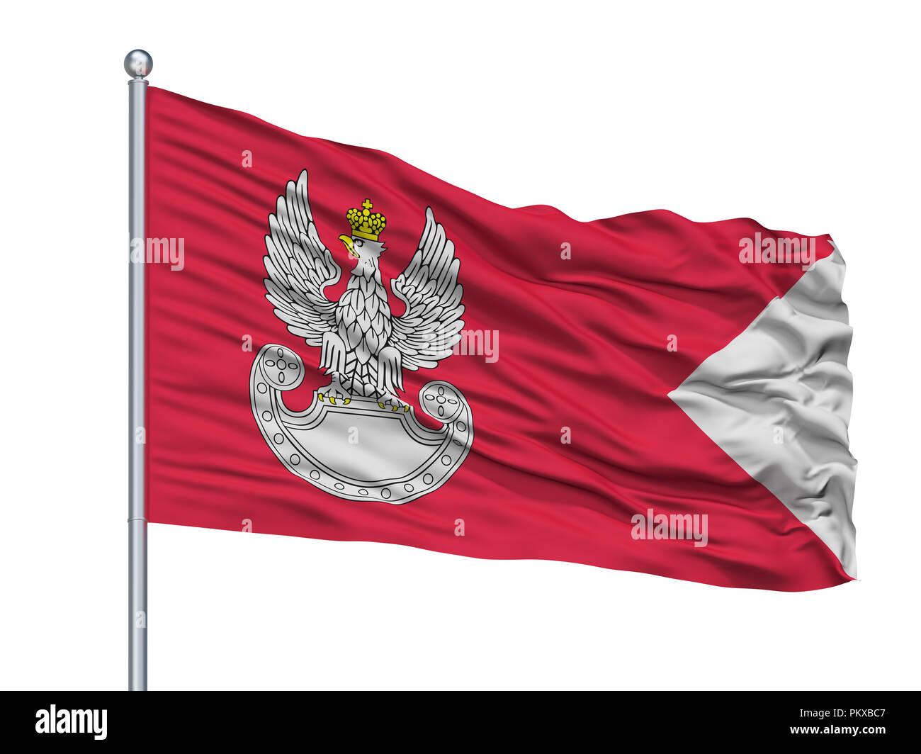 Polish Land Forces Flag On Flagpole, Isolated On White Background, 3D Rendering - Stock Image