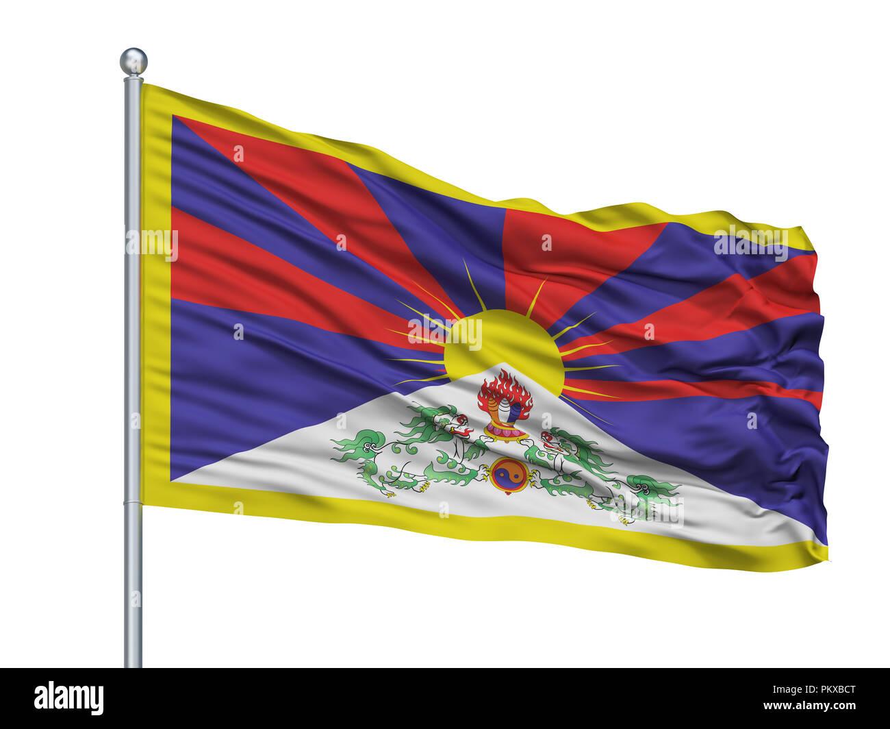 Tibet Flag On Flagpole, Isolated On White Background, 3D Rendering - Stock Image