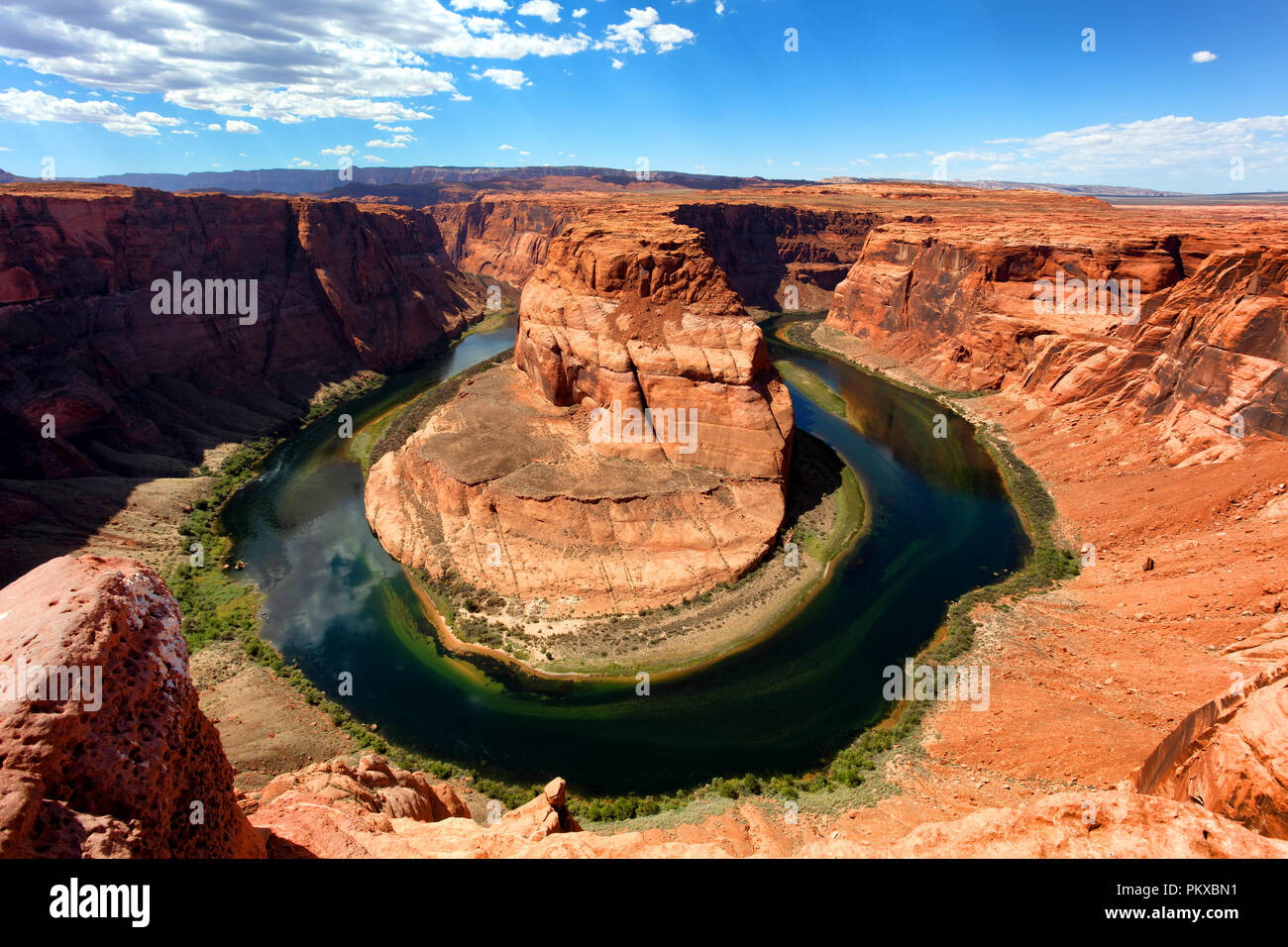Horseshoe bend on the Colorado River in late summer season - Stock Image