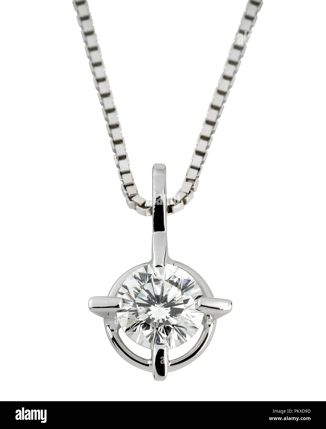 Circular solitaire diamond pendant with a large faceted gemstone in silver or platinum hanging on a box chain isolated on white - Stock Image