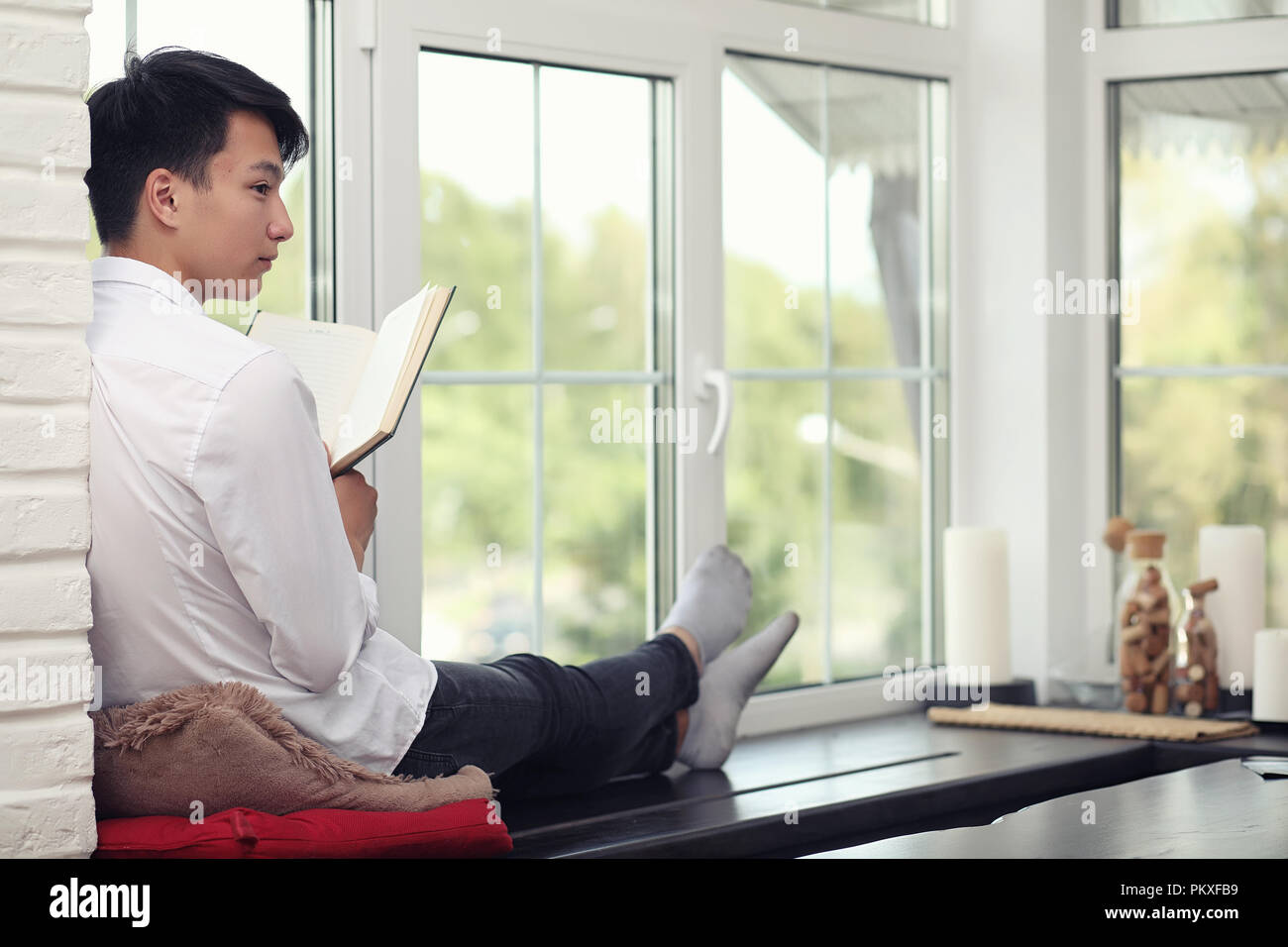 Asian young man student  Stock Photo