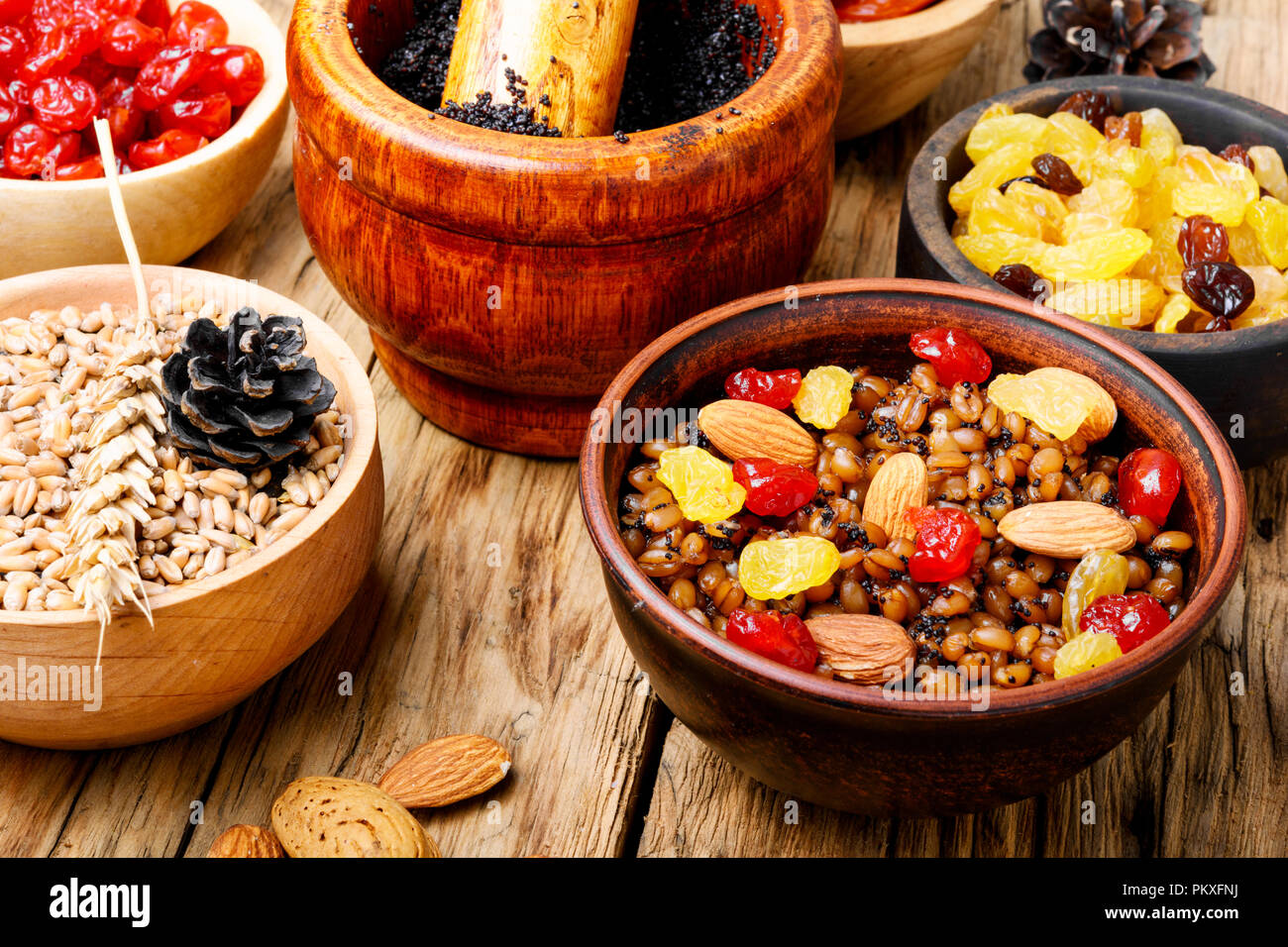 Christmas porridge.Kutya.Traditional Christmas table.Ukrainian Christmas kutya.Ritual Christmas dish - Stock Image
