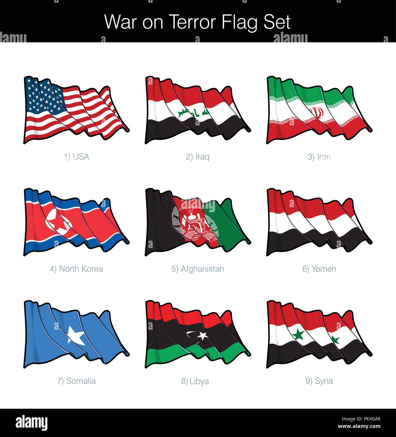 War on Terror Waving Flag Set. The set includes the flags of USA, Iraq, Iran, North Korea, Afghanistan, Yemen, Somalia, Libya and Syria. Vector Icons  - Stock Vector