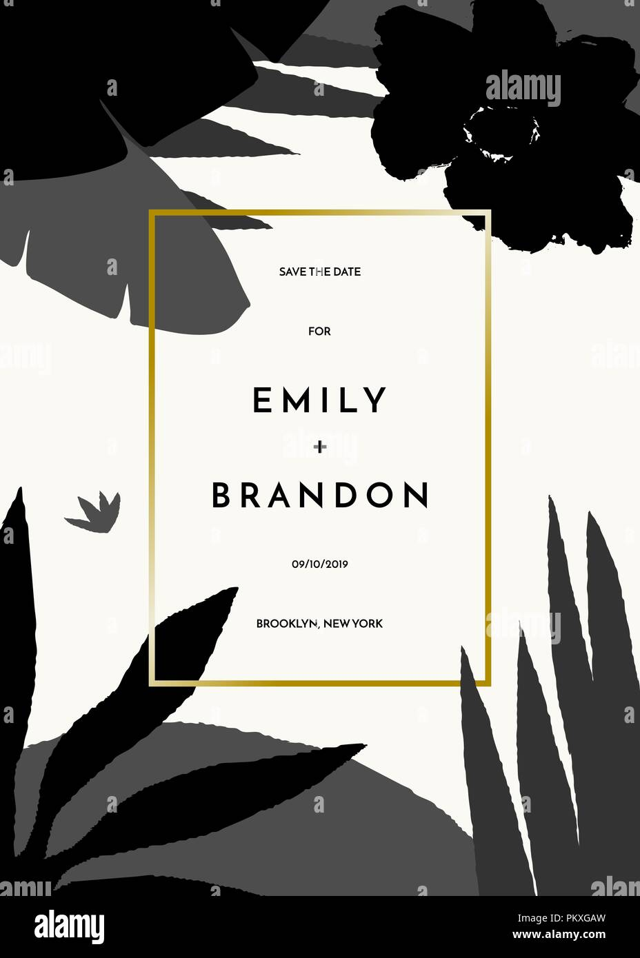 save the date or wedding invitation template tropical foliage in
