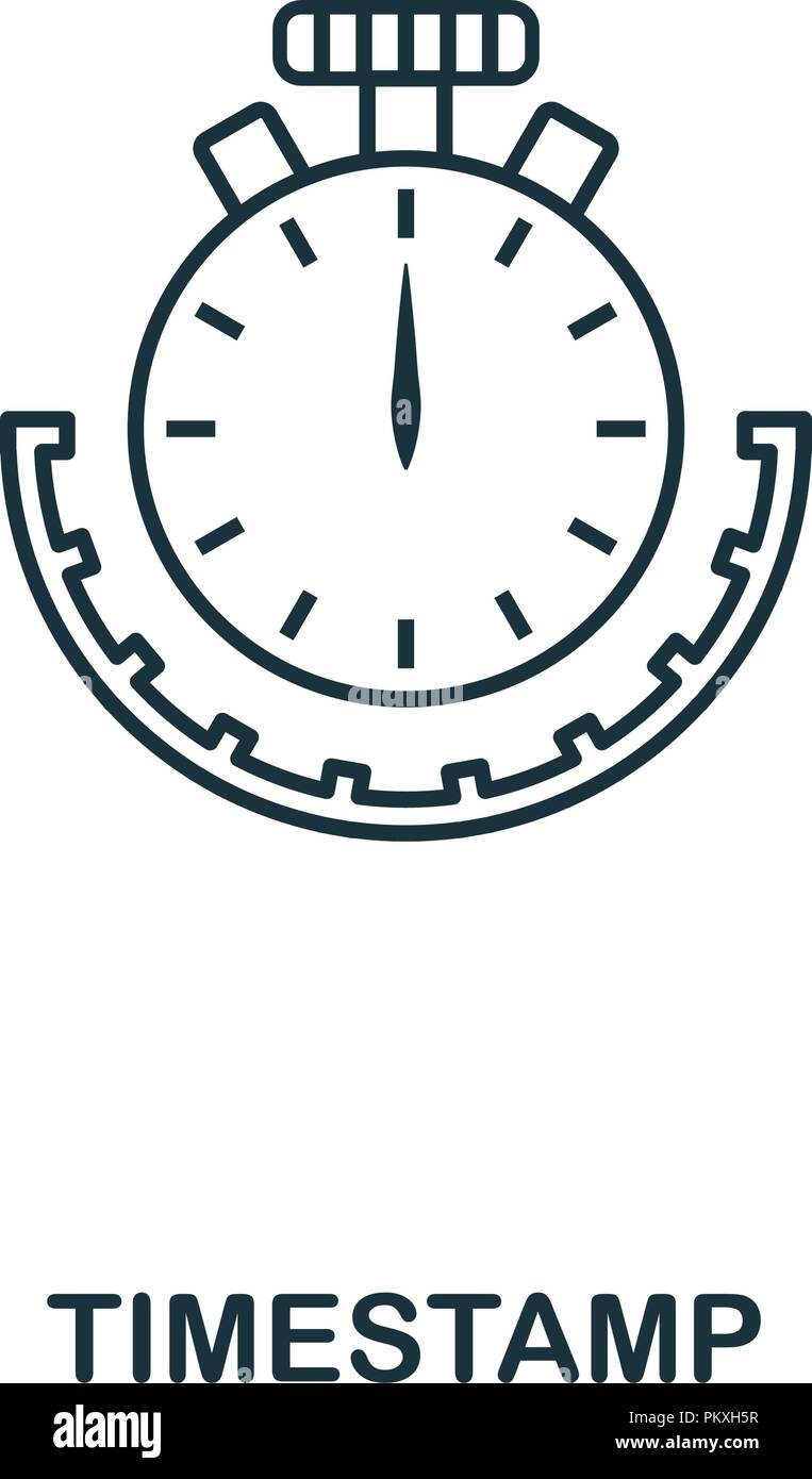 Timestamp outline icon. Monochrome style design from crypto currency collection. UI. Pixel perfect simple pictogram outline timestamp icon. Web design - Stock Vector