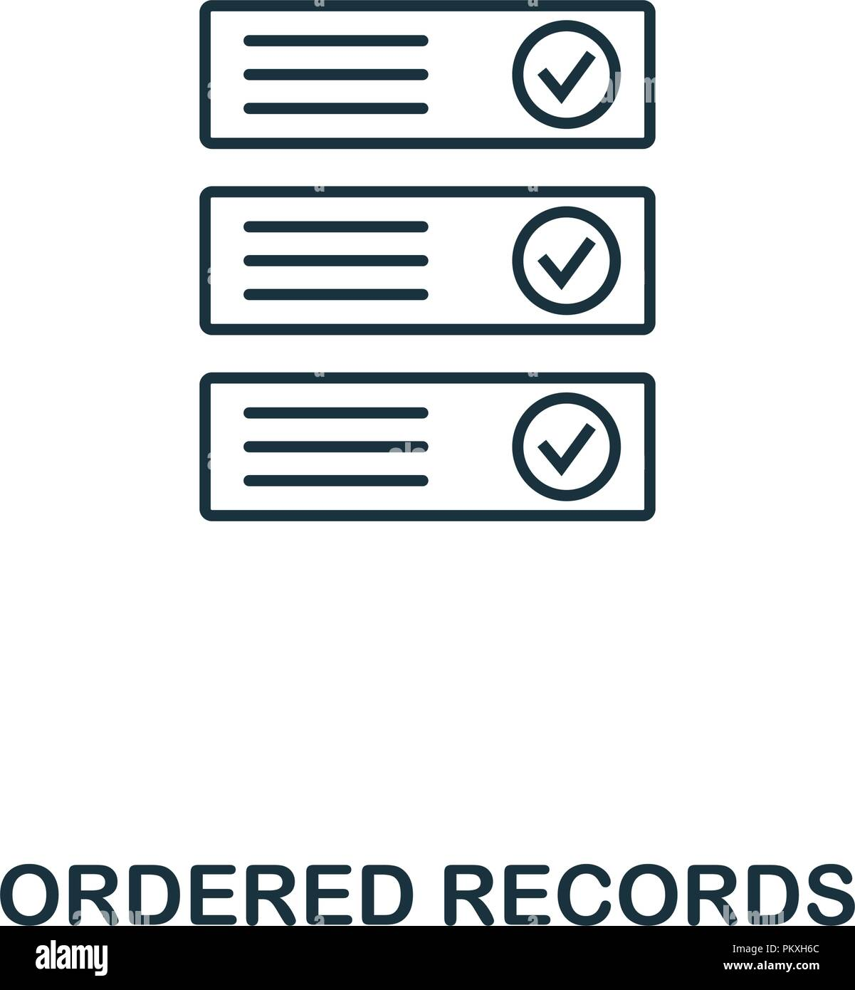 Ordered Records outline icon. Monochrome style design from crypto currency collection. UI. Pixel perfect simple pictogram outline ordered records icon - Stock Vector