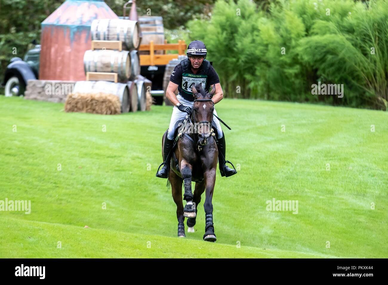 North Carolina, USA. 15th Sept 2018. Daniel Jocelyn. Grovine de Reve. NZL. Eventing Cross country Day 5. World Equestrian Games. WEG 2018 Tryon. North Carolina. USA. 15/09/2018. Credit: Sport In Pictures/Alamy Live News Stock Photo