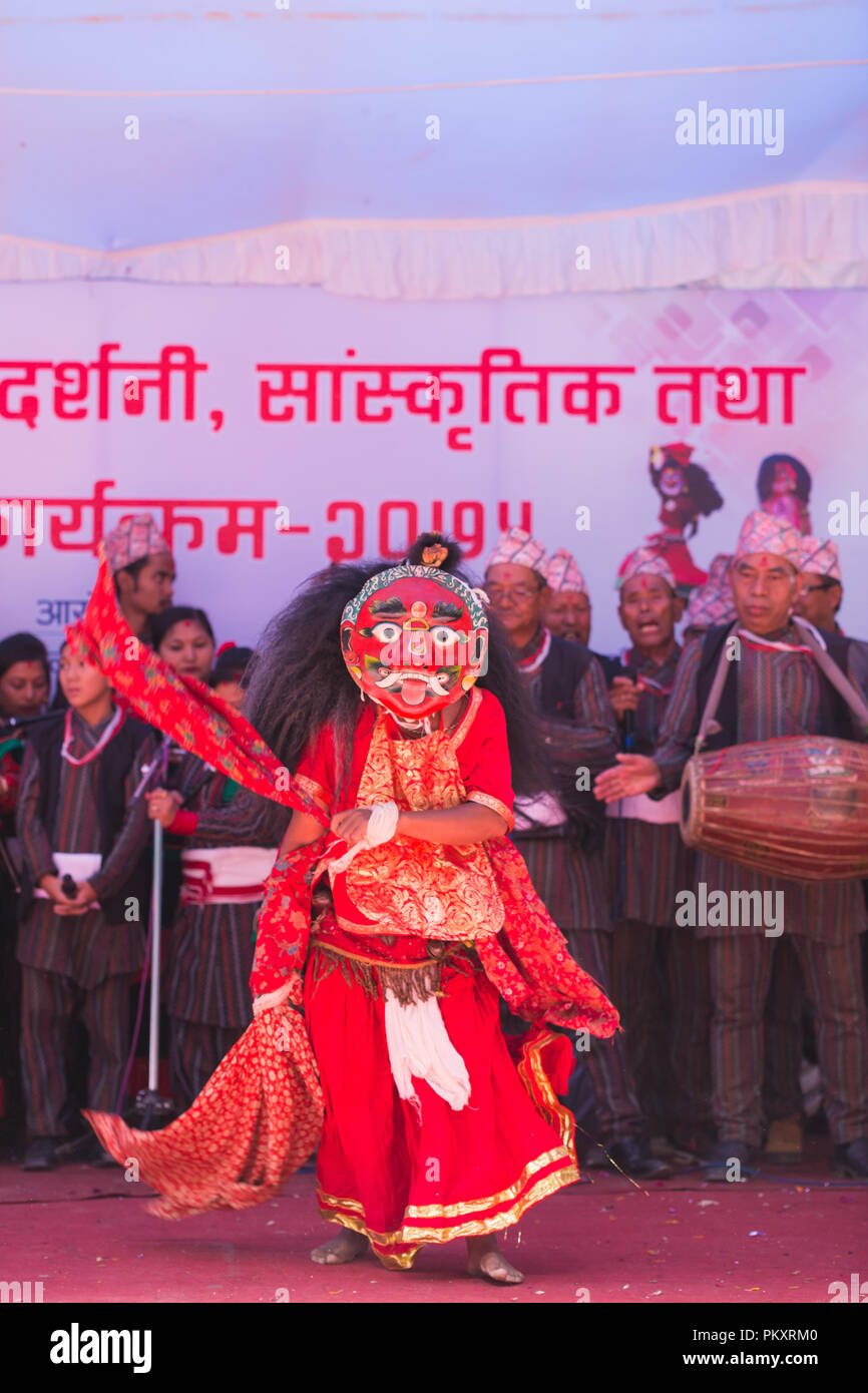 Kathmandu,Nepal - Sep 15,2018: Lakhe Dancer Performing