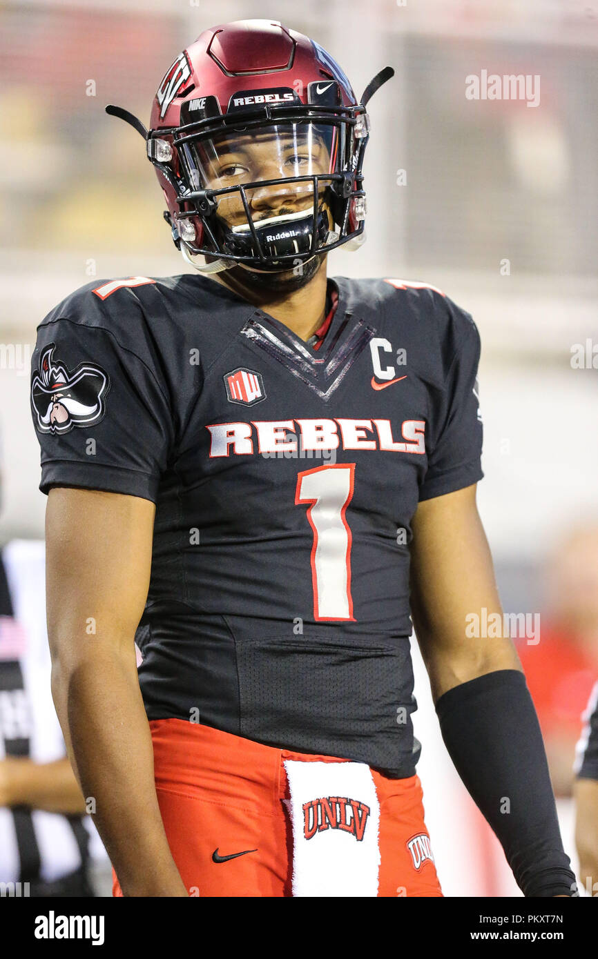 Las Vegas, NV, USA. 15th Sep, 2018. UNLV Rebels quarterback Armani Rogers (1) waits for the coin flip prior to the start of the NCAA football game featuring the Prairie View A&M Panthers and the UNLV Rebels at Sam Boyd Stadium in Las Vegas, NV. Christopher Trim/CSM/Alamy Live News - Stock Image
