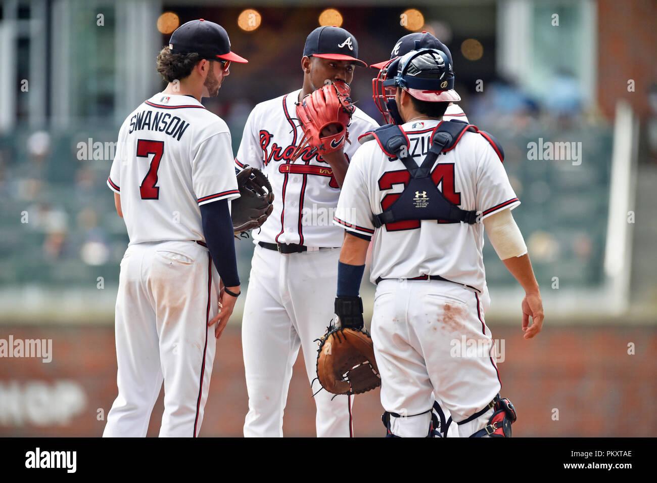 check out 0b53f cb768 Atlanta, GA, USA. 15th Sep, 2018. Atlanta Braves pitcher ...