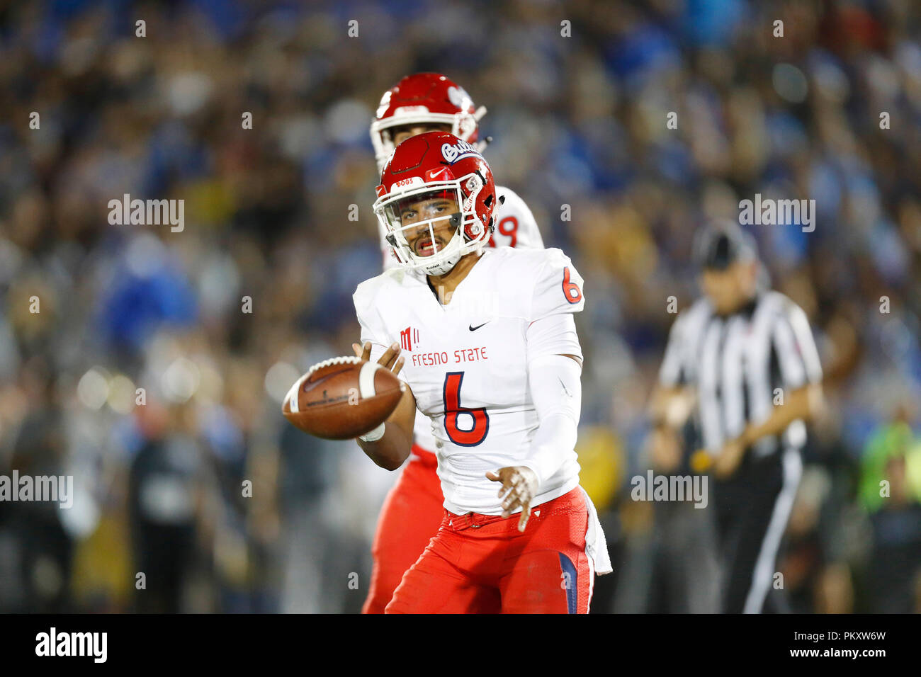 California, USA. September 15, 2018 Fresno State Bulldogs quarterback Marcus McMaryion #6 celebrates after scoring a touchdown in the third quarter during the football game between the UCLA Bruins and the Fresno State Bulldogs at the Rose Bowl in Pasadena, California. Charles Baus/CSM Credit: Cal Sport Media/Alamy Live News - Stock Image