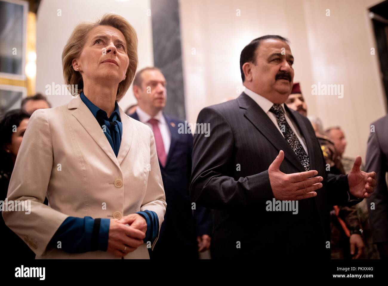 Bagdad, Iraq. 16th Sep, 2018. Ursula von der Leyen (CDU), Federal Minister of Defence, will be received by Al Hayali, Iraqi Minister of Defence. The minister is in Baghdad for political talks. Credit: Kay Nietfeld/dpa/Alamy Live News Stock Photo
